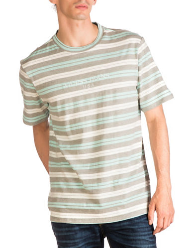 Guess Striped Crewneck T-Shirt-GREEN-Large