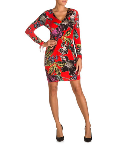 Guess Crosby Ruched Bodycon Dress-RED MULTI-X-Small