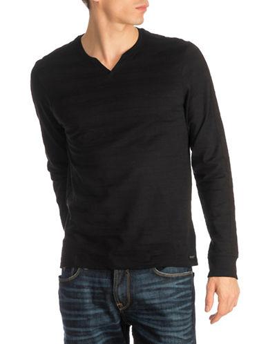 Guess Striped Slub Jersey Top-BLACK-Medium