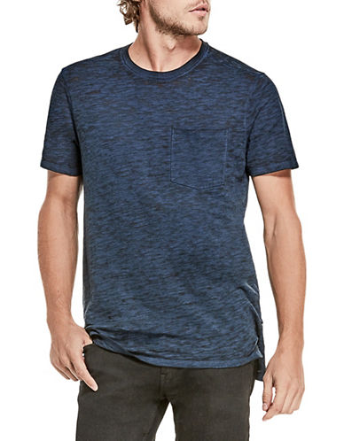 Guess Myer Slub Burnout T-Shirt-DARK BLUE-Large
