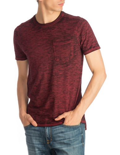Guess Myer Slub Burnout T-Shirt-DARK RED-Large