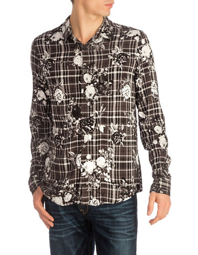 Guess Mosh Floral Plaid Sport Shirt-GREY-X-Large