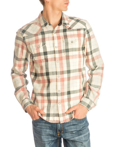 Guess Western Brushed Check Sport Shirt-NATURAL-Large