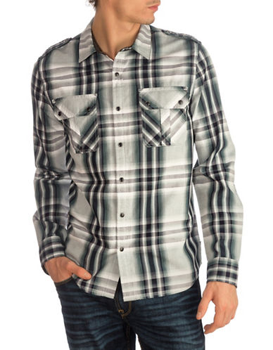 Guess Jaspe Plaid Military Sport Shirt-BLUE-Large