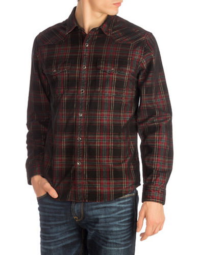Guess Corduroy Western Sport Shirt-RED-Large