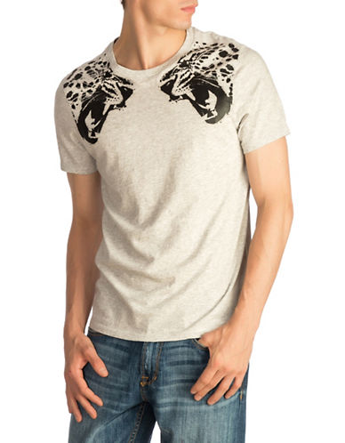 Guess Leopard Graphic Cotton Tee-GREY-Small
