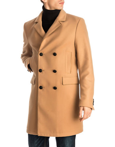 Guess Harlan Double-Breasted Coat-BEIGE-Medium