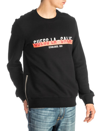 Guess Roy Logo Fleece Sweatshirt-BLACK-Medium
