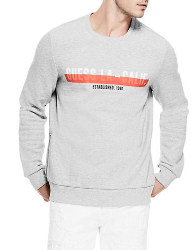 Guess Roy Logo Fleece Sweatshirt-GREY-Large
