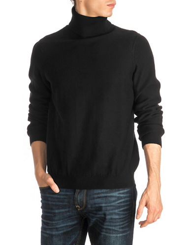 Guess Reverse-Knit Turtleneck Sweater-BLACK-Large