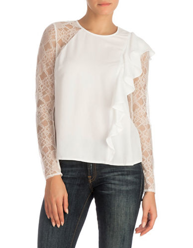 Guess Ruffle Blouse-WHITE-Large
