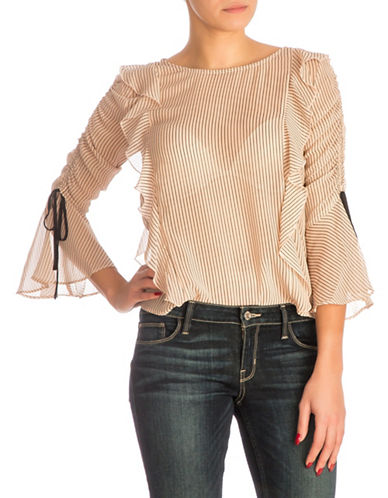 Guess Quinn Stripe Ruffled Top-PASTEL PINK-X-Small