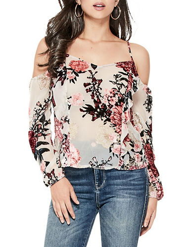 Guess Naila Floral Cold-Shoulder Top-PINK-Small