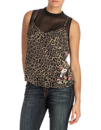 Guess Embellished Top-DARK GREEN-Large