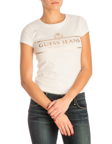 Guess Champaign Logo T-Shirt-WHITE-Large