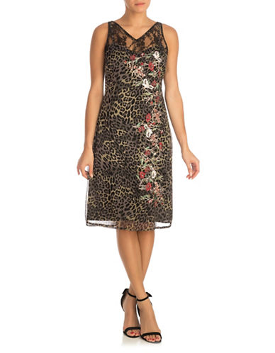 Guess Odessa Floral Lace and Leopard Shift Dress-GREEN-Medium