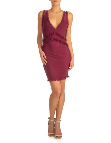 Guess Frenchi Ruffle Dress-PURPLE-X-Small