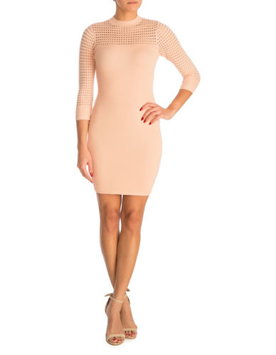 Guess Alison Pointelle Sheath Dress-PASTEL PINK-Small