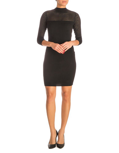 Guess Alison Pointelle Sheath Dress-BLACK-Large