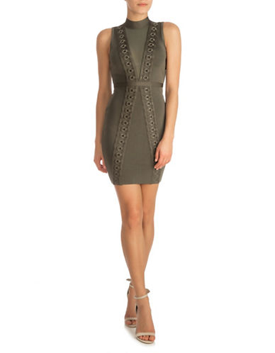 Guess Bodycon Dress-OLIVE NIGHT-X-Large