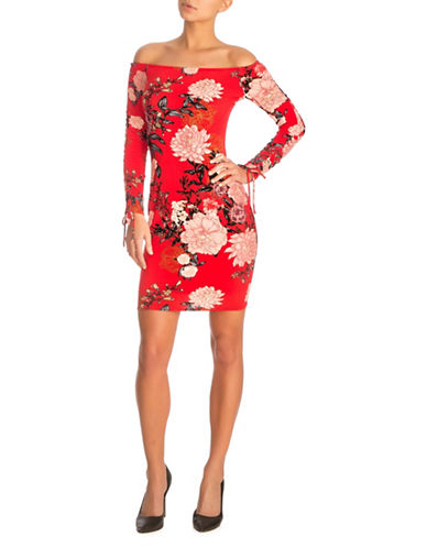Guess Floral Off-The-Shoulder Dress-OPEN RED-Small