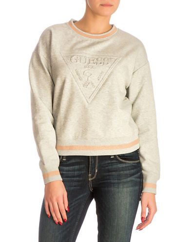 Guess Embossed Logo Sweatshirt-LIGHT GREY-X-Small