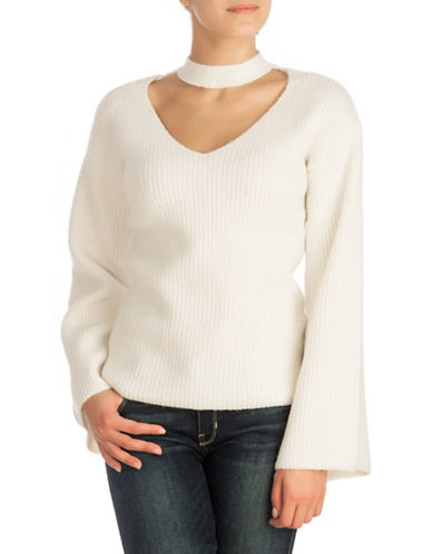 Guess Bell-Sleeve Sweater-WHITE-Large