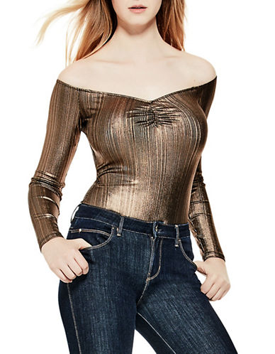 Guess Textured Off-The-Shoulder Bodysuit-COPPER-Large