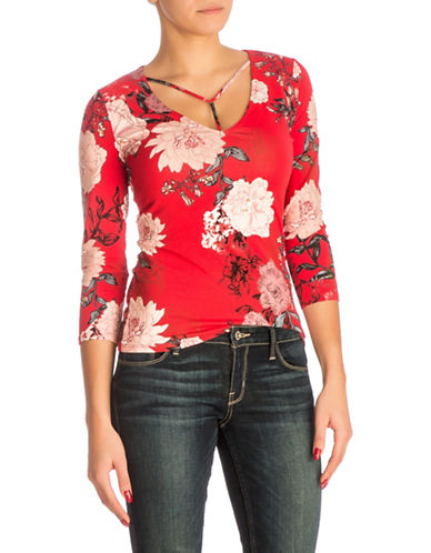 Guess Samara Floral-Print Top-RED-Medium