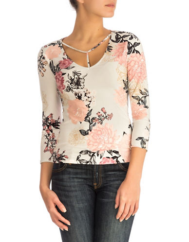 Guess Samara Floral-Print Top-PINK-Medium 89762241_PINK_Medium