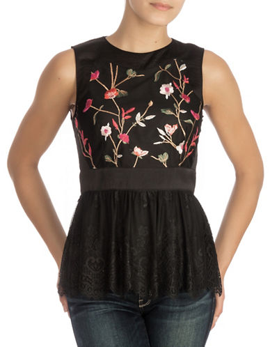 Guess Peplum Top-BLACK-X-Large