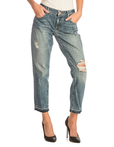Guess Tomboy-Fit Ripped Cotton Jeans-MEDIUM BLUE-32