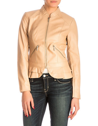 Guess Kate Flirty Peplum Jacket-BEIGE-Large