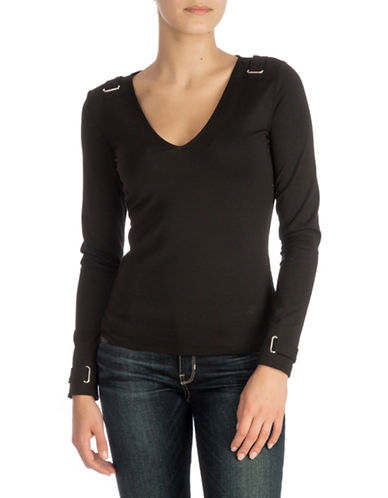 Guess Eyelet Long-Sleeve Top-BLACK-Small
