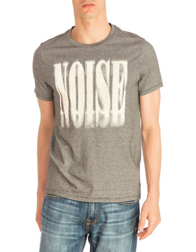 Guess Noise Crew Neck Cotton Tee-GREY-Large