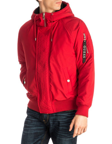 Guess Halen Nylon Hooded Jacket-RED-X-Large