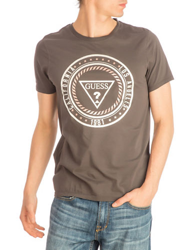 Guess Logo Seal Cotton Tee-GREY-X-Large