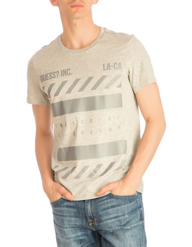Guess Twelve Logo Graphic Tee-GREY-Medium