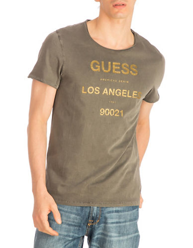 Guess LA Logo Crew Neck Cotton Tee-GREY-Large