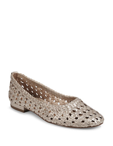 H Halston Irene Woven Leather Flat Shoes-SILVER-8.5