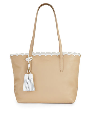 Imnyc Isaac Mizrahi Scalloped Large Leather Tote Bag-BEIGE-One Size