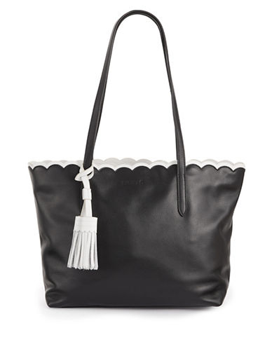 Imnyc Isaac Mizrahi Scalloped Large Leather Tote Bag-BLACK-One Size