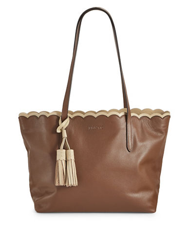 Imnyc Isaac Mizrahi Scalloped Large Leather Tote Bag-TAN-One Size