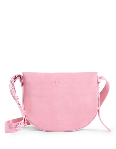 Imnyc Isaac Mizrahi Suede Flower Applique Crossbody-PINK-One Size