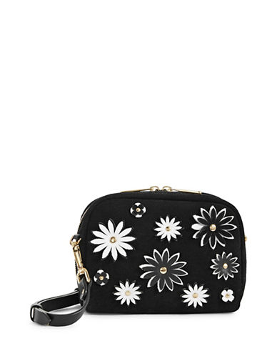 Imnyc Isaac Mizrahi Flower Applique Small Leather Crossbody-BLACK-One Size