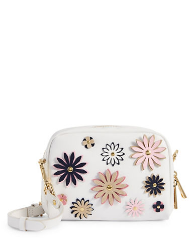Imnyc Isaac Mizrahi Flower Applique Small Leather Crossbody-WHITE-One Size