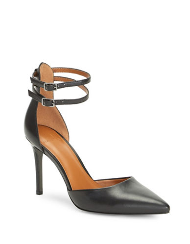 H Halston London Metallic Leather Pumps-BLACK-7.5
