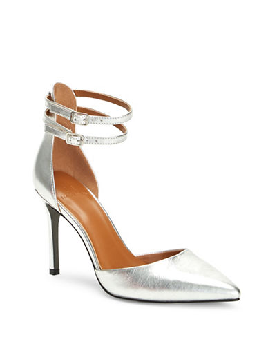 H Halston London Metallic Leather Pumps-SILVER-6
