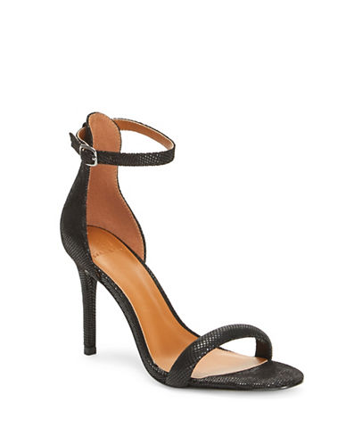 H Halston Alison Metallic Open Toe Sandals-BLACK-7.5