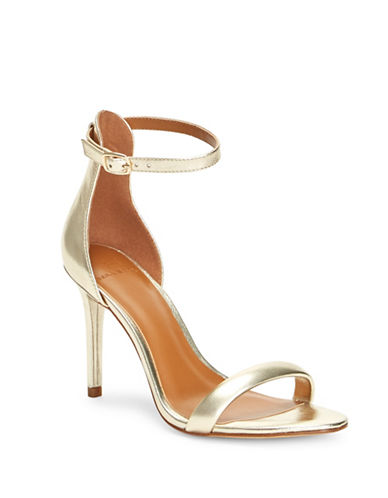 H Halston Alison Metallic Open Toe Sandals-GOLD-9.5